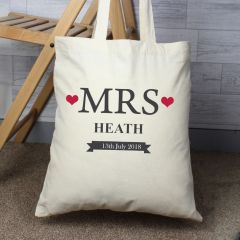 Personalised Mrs Cotton Tote Bag