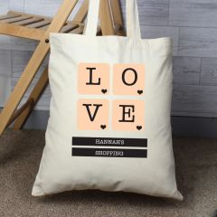 Personalised LOVE Tiles Cotton Tote Bag