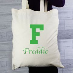 Personalised Green Initial Cotton Tote Bag