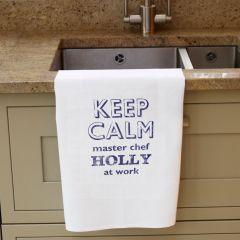 Personalised Keep Calm White Tea Towel