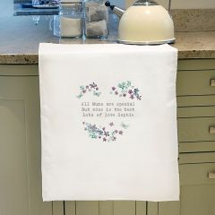 Personalised Forget Me Not White Tea Towel