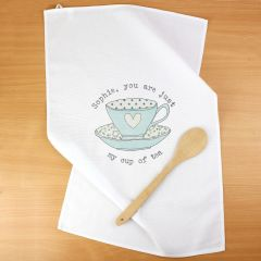 Personalised Vintage Design Tea cup White Tea Towel