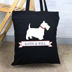 Personalised Scottie Dog Black Cotton Tote Bag