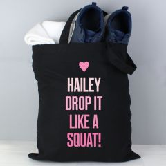 Personalised Pink Text Black Cotton Tote Bag