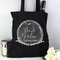 Personalised Wreath Black Cotton Tote Bag