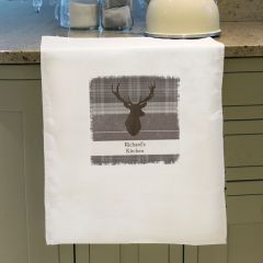 Personalised Highland Stag Design White Tea Towel