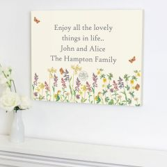Personalised Country Diary Design Wild Flowers Canvas