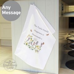 Personalised Country Diary Design Wild Flowers White Tea Towel