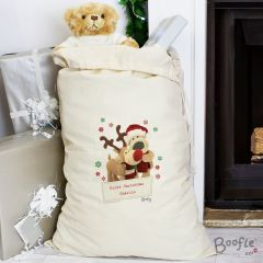 Personalised Boofle Bear Christmas Reindeer Cotton Sack