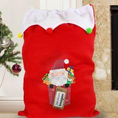 Personalised Santa Claus Multicoloured Pom Pom Sack