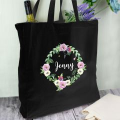 Personalised Floral Black Cotton Tote Bag