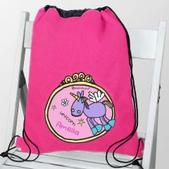 Personalised Bang on the Door Unicorn Drawstring Bag