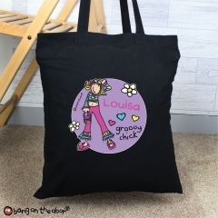 Personalised Bang on the Door Groovy Chick Black Cotton Tote Bag