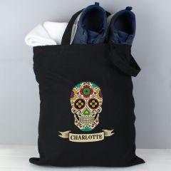 Personalised Sugar Skull Black Cotton Tote Bag