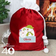 Personalised The Snowman and Snowdog Design Luxury Pom Pom Sack