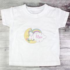 Personalised Baby Unicorn Childrens T shirt 3-4 Years