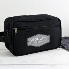 Personalised Plaque Black Wash Bag