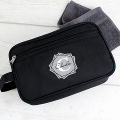 Personalised Geometric Design Initial Black Wash Bag