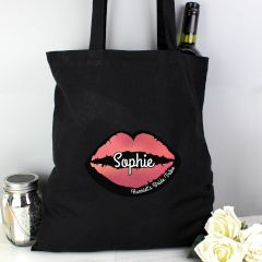 Personalised Rose Gold Lips Hen Party Black Cotton Tote Bag