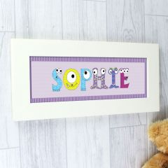 Personalised Monster Name Frame For Girls