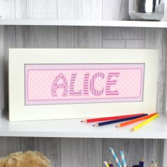 Personalised Pink Stitch Name Frame
