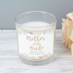 Personalised Mother of the Bride 'Floral Watercolour Wedding' Scented Candle in Jar