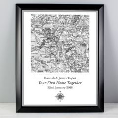 Personalised Old Series 1805 - 1874 Map Compass Black Framed Print