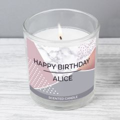 Personalised Geometric Scented Candle in Jar