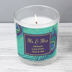 Personalised Peacock Scented Candle in Jar