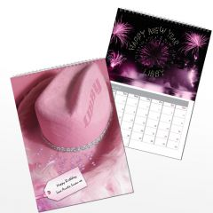Personalised Pink Girls Wall Calendar A4