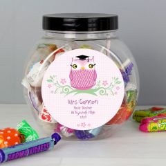 Personalised Miss Teacher Owl Sweet Jar Gift