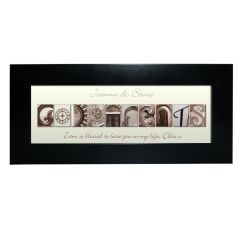 Personalised Affection Art Design Godparents Black Frame