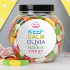 Personalised Keep Calm Jelly Beans Sweet Jar Gift