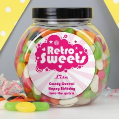 Personalised Retro Pink Jelly Beans Sweet Jar Gift
