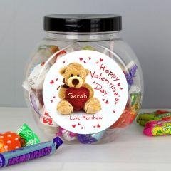 Personalised Teddy Heart Sweet Jar Gift