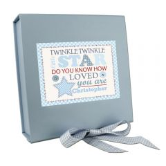 Personalised Twinkle Design Boys Blue Gift Box