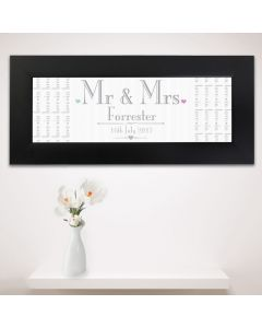 Personalised Wedding Design Mr & Mrs Black Name Frame