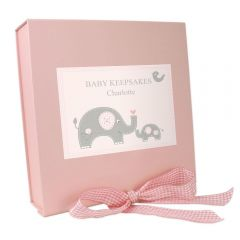 Personalised Pink Baby Elephant Gift Box