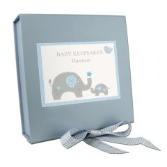 Personalised Blue Baby Elephant Gift Box