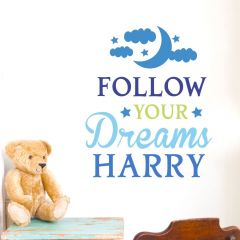 Personalised Follow Your Dreams Blue Wall Art Decoration