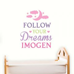 Personalised Follow Your Dreams Pink Wall Art Decoration