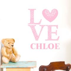 Personalised LOVE Pink Wall Art Decoration