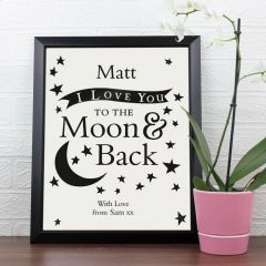 Personalised Love You To The Moon & Back... Black Framed Poster Print