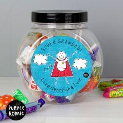 Personalised Purple Ronnie Super Hero Sweet Jar Gift