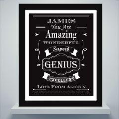 Personalised Vintage Design Typography Black Framed Poster Print