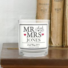 Personalised Mr & Mrs Scented Candle in Jar