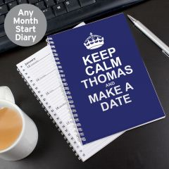 Personalised Keep Calm Blue Diary
