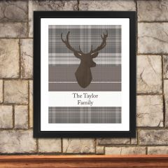 Personalised Highland Stag Black Framed Picture