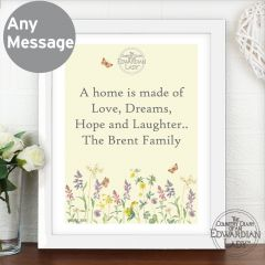 Personalised Country Diary Design Wild Flowers White Framed Poster Print