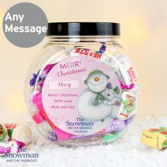Personalised The Snowman and the Snowdog Pink Sweet Jar Gift